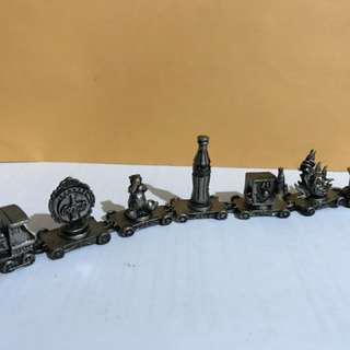 Rare Coca Cola Train Car Pewter Set of 7 pieces with each pieces painted for finishing