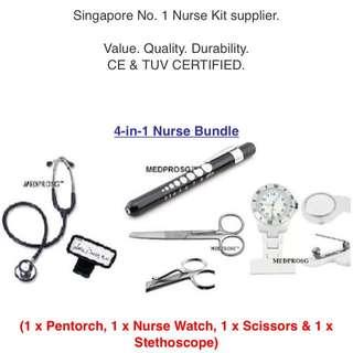 4-in-1 Nurse Bundle: Pen-torch Nurse Watch Nurse Scissors and Dual-head Stethoscope