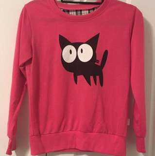 Black cat graphic pink sweater