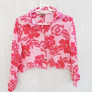 Pink Floral Polo crop top
