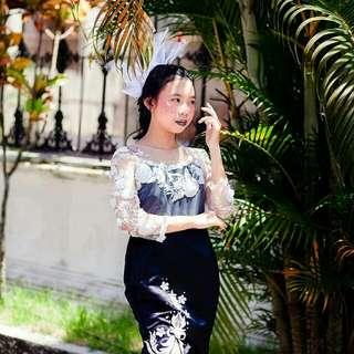 Black m white dress
