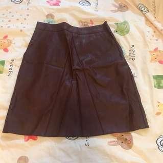 韓國 仿皮 半截裙