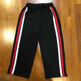 Side Tape Wide Leg Pants