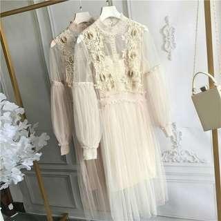 🚚 浪漫法式風格立體紗洋裝(粉咖)