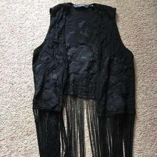Festival embroidered fringe vest