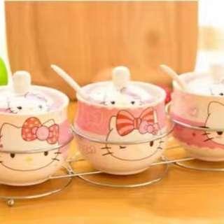 0812NO/32+C  😊Hello Kitty/叮当陶瓷调味罐三件套