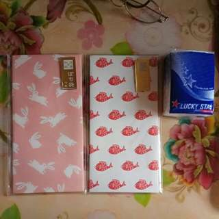 Daiso大創日本和紙年玉袋 日式利是封 粉紅兔子 金魚 散買 雜貨控