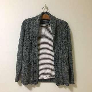 🚚 Gu灰色麻花針織外套