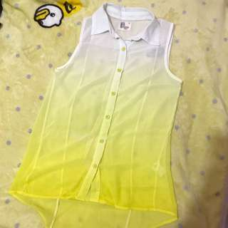 Bench yellow chiffon sleveless top