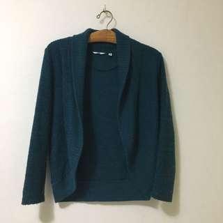 🚚 Uniqlo開襟藍綠色針織外套(尺寸m)