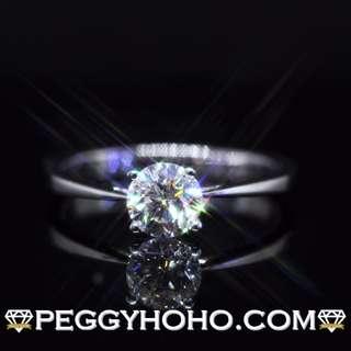 ((超值靚石)) 全新18K白金 ((單粒64份)) 閃爍鑽石 4爪戒指