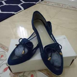 Jual flat shoes merk Iconinty9, bekas pakai (Preloved), Biru Tua/navy.