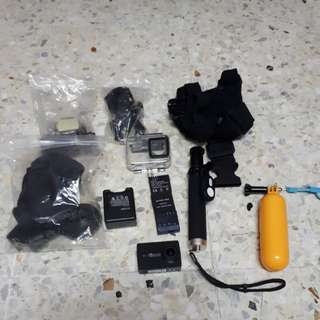 Yi 4k Action Camera with accessories