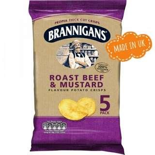 Brannigans Roast Beef & Mustard Thick Cut Crisps (5 Pack)