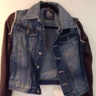 All about even half denim biker jacket