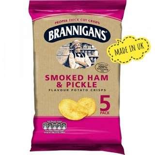 Brannigans Smoked Ham & Pickle Thick Cut Crisps (5 Pack)