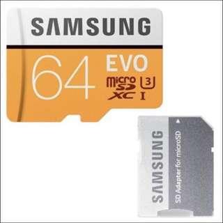 Samsung EVO Micro SD SDXC Memory Card 記憶卡 64G 64GB 100MB/s Class 10 支援4K拍攝升級版