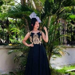 Black dress gold