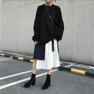 韓國chic港味復古風金屬環特色拼接不對稱長裙