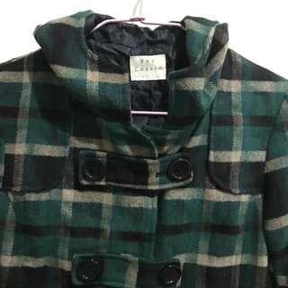 [孬便宜]專櫃購入僅試穿百搭秋冬韓版綠格子大衣