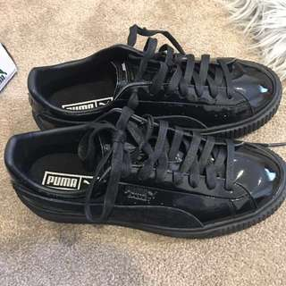 Puma basket black patent leather platform shoes