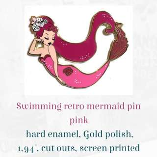 Pink mermaid pin