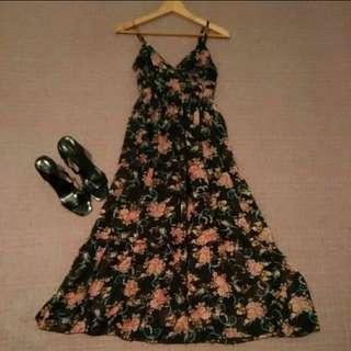 浪漫 玫瑰花印花 雪紡紗 長洋裝 連身裙