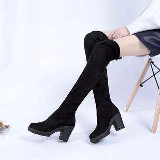 ▌秋冬新品 / ◙ 新品 辣妹必備歐美粗高跟綁帶彈力長筒靴