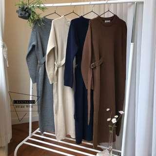 【H.BANDWAGON】韓國氣質打底修身側邊穿帶釦垂帶設計羊毛呢針織連衣裙 代購 空運 韓製(預購)
