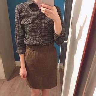 全新 駝色短裙