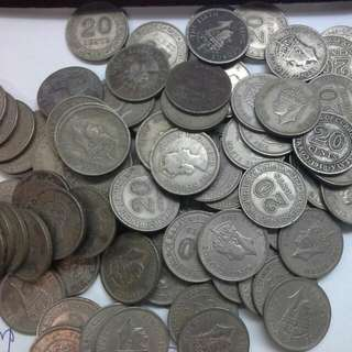 Malaya 20 Cents Nickel Coins Kgvi $1 Each
