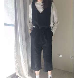 韓國網拍66girls黑色連身寬褲