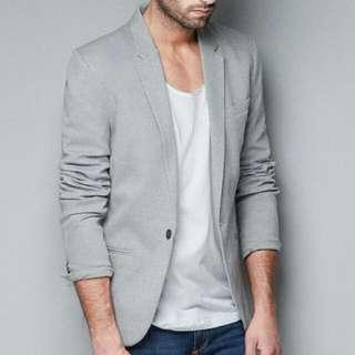 Zara Circular Blazer Jacket Grey UK USA Large MEX 40 EU 50