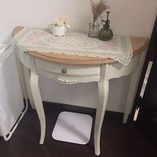 南法鄉村仿舊刷白玄關桌
