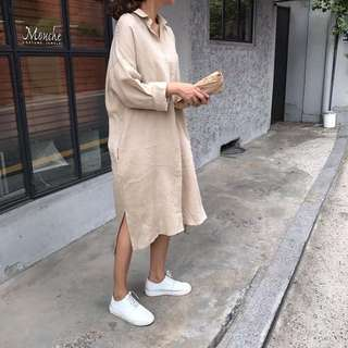 秋裝韓版文青復古綿綿長袖襯衫裙