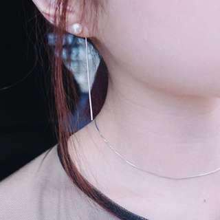正韓 空運 珍珠 銀鍊 耳環 鏈子可分開