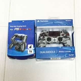 New Dual Shock 4 Wireless Controller For PS4 With Free Charging Dock