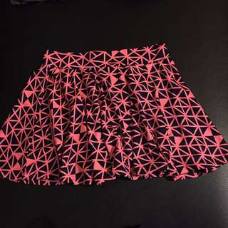 幾何圖形霓虹粉紅短裙