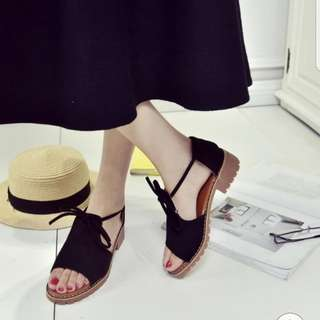 Korean black sandals Roman