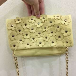 Yellow Floral Sling Bag