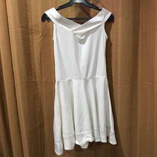 White Semi Off Shoulder Dress