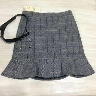 🚚 全新含包裝❤超美格子魚尾裙 贈皮帶 #大掃除五折