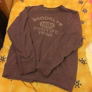 Brooklyn 紫色 內裡毛巾布大學T