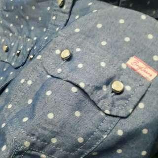 (repriced) BNY polka dots longsleeves polo