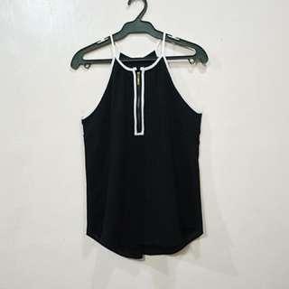 Black Sleeveless w/ Gold Zipper