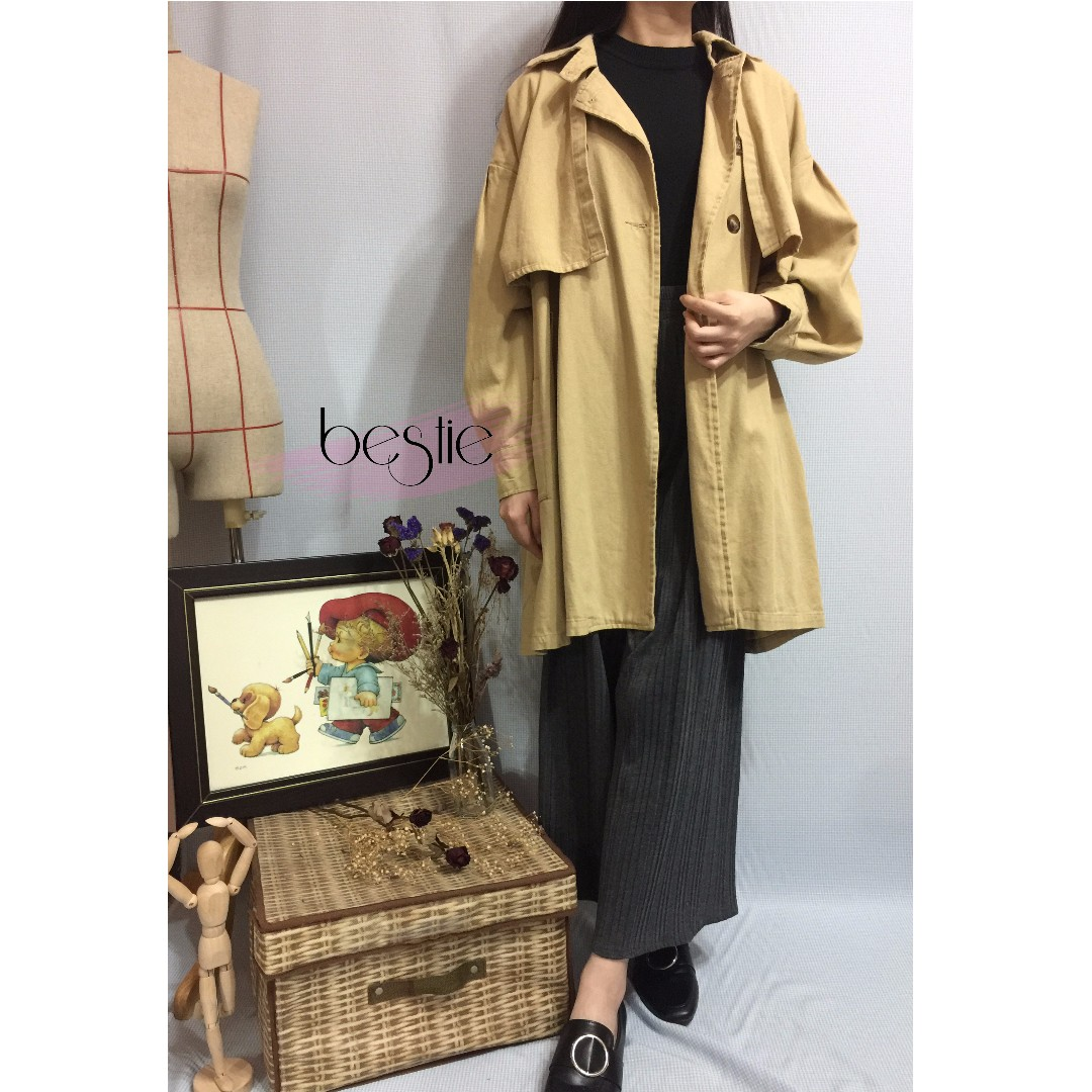 簡約韓系長版風衣外套