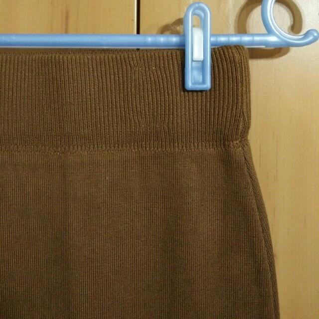 兩件九折。復古高腰咖啡色深卡其焦糖色包臀裙窄裙中裙及膝裙針織毛衣襯衫百搭