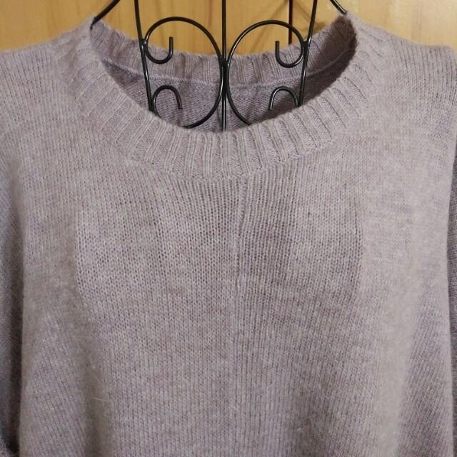 兩件九折。紫色的柔軟。藕紫色藕色柔美紫色女人味飛鼠袖口袋針織毛衣洋裝上衣圓領