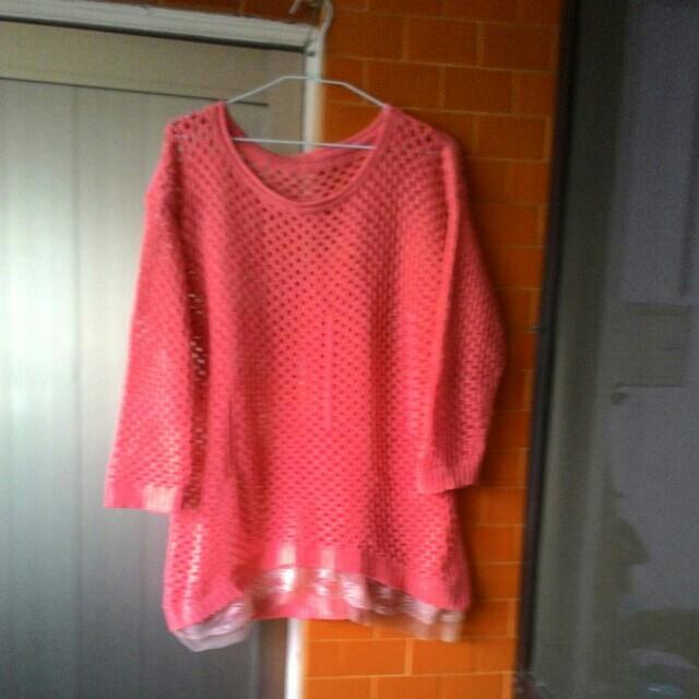 不議價👉玫粉色毛線罩衫