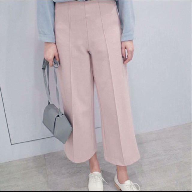厚挺版粉色寬褲